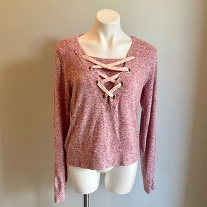Poof Super Soft Long Sleeve Pink Top